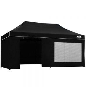 3x6m gazebo black with side panels