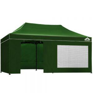 3x6m gazebo with side panels green