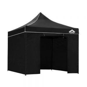 3x3m black gazebo with panels