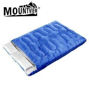 double sleeping bag blue